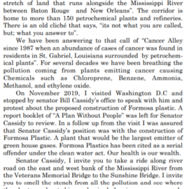 2nd Cancer Alley Letter from Protestor