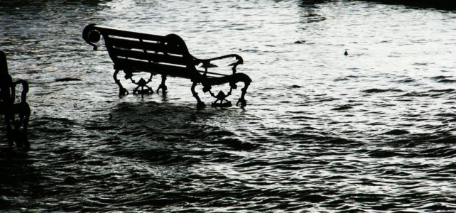 Bench in flood waters
